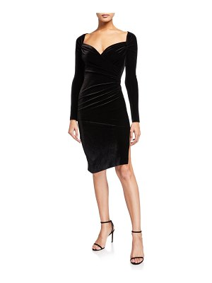 Norma Kamali Sweetheart Long-Sleeve Side Drape Velvet Dress