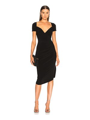 Norma Kamali sweetheart side drape dress
