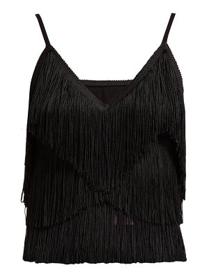 Norma Kamali tiered fringe stretch jersey crop top