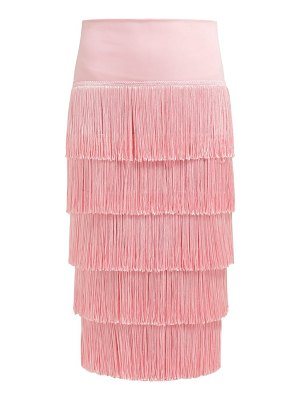 Norma Kamali tiered fringe stretch jersey pencil skirt