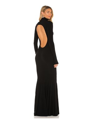 Norma Kamali turtle open back fishtail gown
