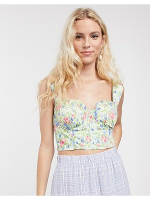 Notes Du Nord odea floral jaquard bustier top in romantic flower-multi
