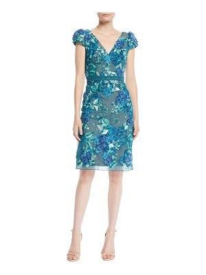 Notte by Marchesa 3D Floral Embroidered Cap-Sleeve Dress