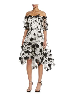 Notte by Marchesa 3D Floral Embroidery Off-the-Shoulder Cocktail Dress