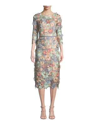 Notte by Marchesa 3D Floral Guipure Lace V-Back Midi Cocktail Dress
