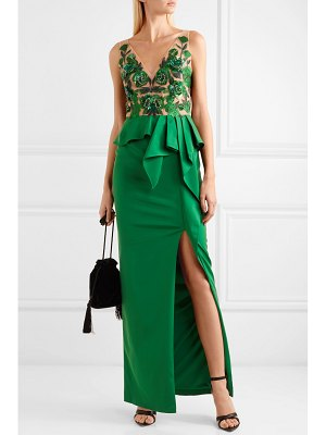 Notte by Marchesa beaded mesh and crepe peplum gown
