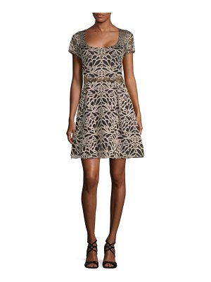 Notte by Marchesa Belted Embroidered Fit-and-Flare Dress