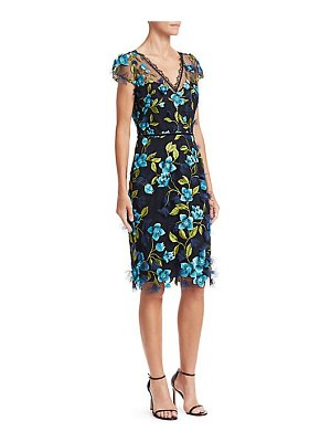 Notte by Marchesa cap sleeve 3d floral sheath dress