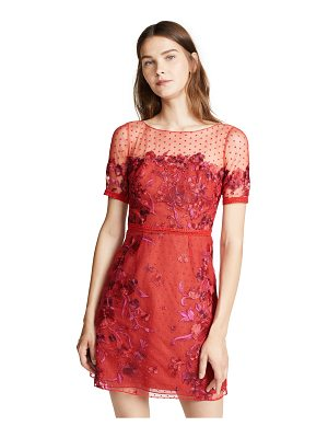 Notte by Marchesa cap sleeve boat neck embroidered tulle cocktail