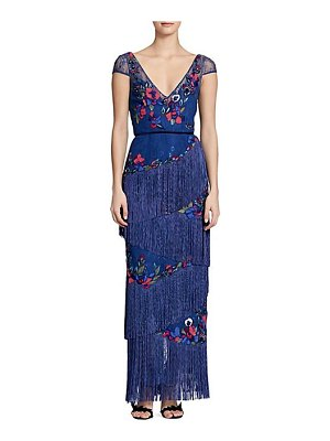Notte by Marchesa cap sleeve fringe gown