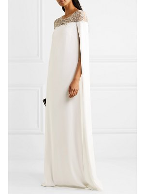 Notte by Marchesa cape-effect embellished tulle and crepe gown