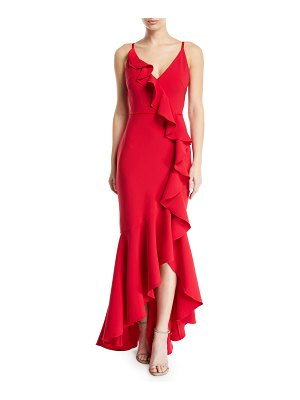 Notte by Marchesa Cascading Ruffle High-Low Gown in Crepe