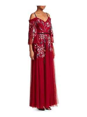 Notte by Marchesa cold shoulder embroidered tulle gown