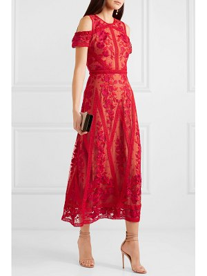 Notte by Marchesa cold-shoulder guipure lace-trimmed embroidered tulle midi dress