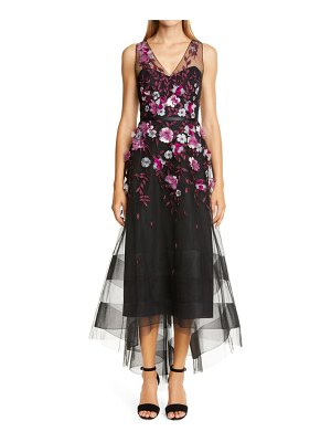 Notte by Marchesa embellished tulle high/low gown
