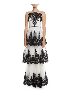 Notte by Marchesa Embroidered 3-Tier Strapless Gown