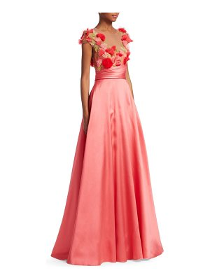 Notte by Marchesa embroidered floral cap-sleeve ball gown