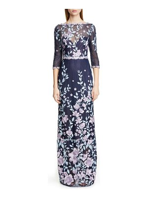 Notte by Marchesa embroidered floral sheath gown