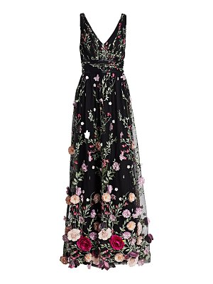 Notte by Marchesa embroidered flower gown