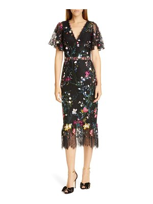 Notte by Marchesa embroidered flutter sleeve lace cocktail dress