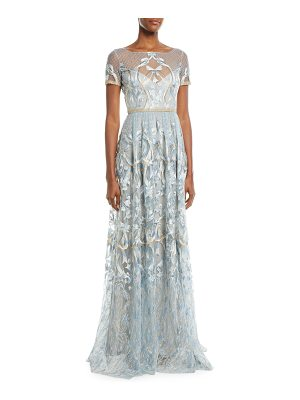 Notte by Marchesa Embroidered Gown w/ Metallic Lace Trim