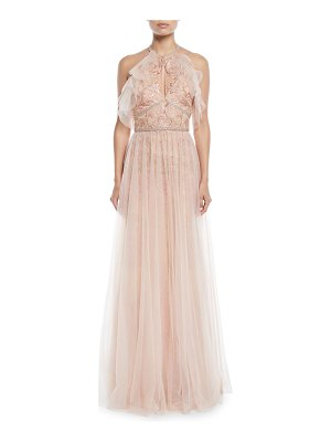 Notte by Marchesa Embroidered Halter Gown w/ Tulle Skirt Overlay
