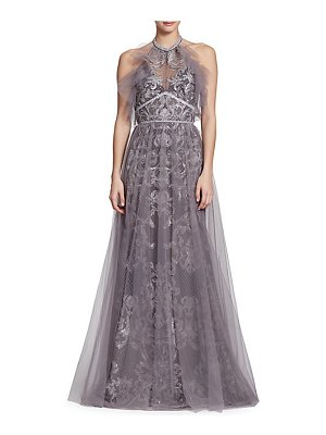 Notte by Marchesa embroidered halter tulle gown