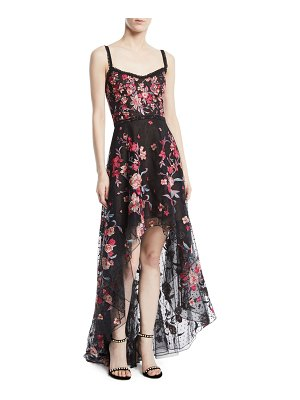 Notte by Marchesa Embroidered High-Low Flocked Tulle Gown