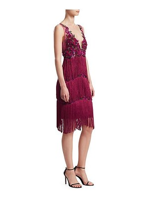Notte by Marchesa embroidered mesh fringe shift dress