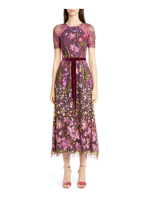 Notte by Marchesa embroidered midi cocktail dress