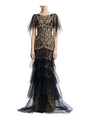 Notte by Marchesa embroidered tiered flutter-sleeve gown