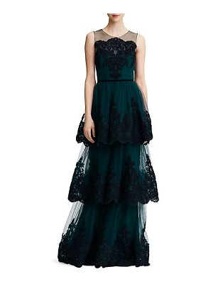 Notte by Marchesa embroidered tiered lace gown