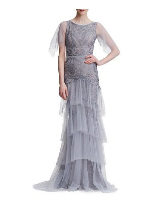 Notte by Marchesa embroidered tiered tulle gown