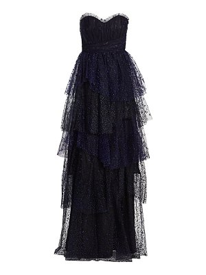 Notte by Marchesa flocked glitter tulle strapless gown