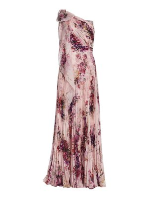 Notte by Marchesa floral asymetrical pleated gown
