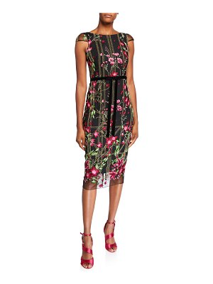 Notte by Marchesa Floral Embroidered Cap-Sleeve Tea-Length Dress