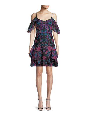 Notte by Marchesa Floral Embroidered Cold-Shoulder Mini Cocktail Dress
