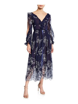Notte by Marchesa Floral Embroidered Long-Sleeve Tulle & Chiffon Dress w/ Ruffle Trim