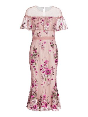 Notte by Marchesa floral glittered tulle midi dress