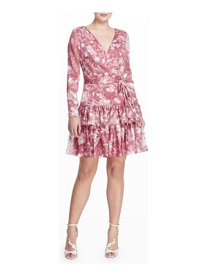 Notte by Marchesa Floral Long-Sleeve Tiered Ruffle Dress