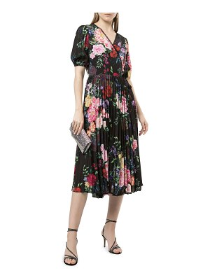Notte by Marchesa Floral Pleated Georgette Midi Wrap Dress
