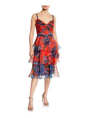 Notte by Marchesa Floral-Print Sleeveless Tiered Organza Dress with Draped Bodice