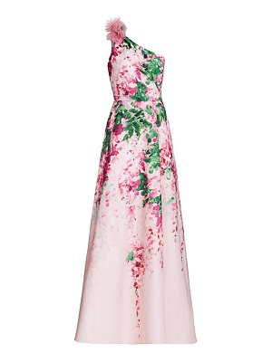 Notte by Marchesa floral ruffle one-shoulder gown