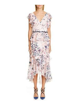 Notte by Marchesa floral ruffle tiered midi dress