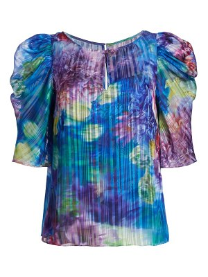 Notte by Marchesa floral shadow-stripe blouse