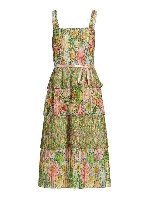 Notte by Marchesa floral tiered pleated midi dress