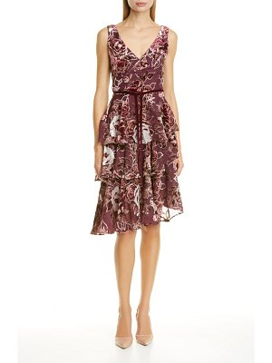 Notte by Marchesa floral tiered velvet cocktail dress