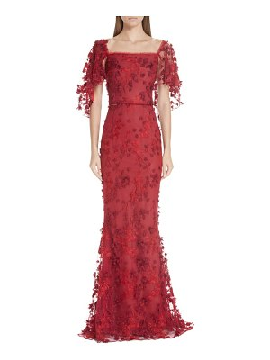 Notte by Marchesa flutter sleeve embroidered column gown