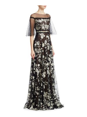 Notte by Marchesa flutter sleeve flock gown