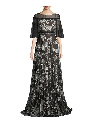 Notte by Marchesa Flutter-Sleeve Floral Embroidered Flocked Tulle Gown